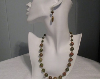 Jasper Necklace and Earrings Set, Jasper Necklace, Jasper Earrings, Handmade