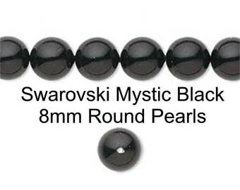 Black Pearls, Gloss Black Swarovski Pearls 50 Pcs 8mm Mystic Black Pearls Round Pearl Beads Elements 5810