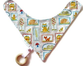 Baby Bandana Bib With an Detachable Wooden Teether,  Critters,  Reversible  Minky Lined