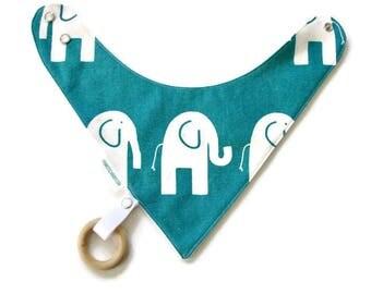 Baby Bandana Bib With Detachable Wooden Teether Elephants  Reversible  Minky Lined