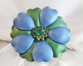 SALE Vintage Flower Brooch. Blue Green Enamel Flower Power Pin. Green Rhinestone Flower Brooch.