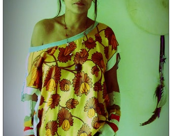 Upcycled Vintage Scarf T-Shirt Yellow & Orange print Tunic
