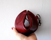 SALE Leather wallet , purse ,Fortune cookie  ,The Perfect Gift - red