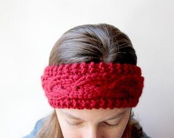 Knitted Headband, Chunky Womens Knit, Knit Ear Warmer, Knit Head Band, Winter Earwarmer, Red Knit Headband, Womens Earwarmer, Wool Ear Warm