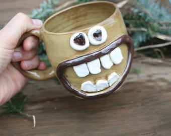 NEW. Love Mug. Googly Heart Eyes Grinning Face Mug. Unique Husband Wife Boyfriend Girlfriend Gift. Amber Honey Pottery Coffee Cup.