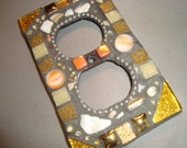 MOSAIC Electrical Outlet COVER , Wall Plate, Wall Art, Gold, Coral, Tan, Beige