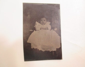 Antique Vintage Tin Baby Picture