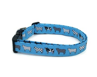 Parade of Black and White Cows on Turquoise Dog Collar