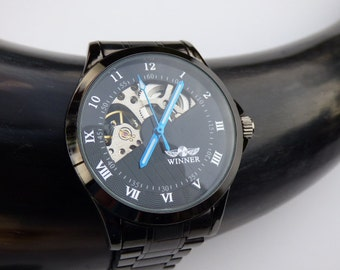 Classic Black Wrist Watch, Black Metal Wristband - Automatic - Men's Watch - Groomsmen Gift - Unisex Watch - Steampunk - Item MWA298a