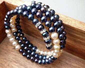 Black Pearl Bracelet, Wraps Around 3.5 times, Freshwater Pearls 6-7 MM, 29 inches, Premium Pearl Jewelry
