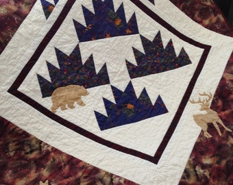 Delectable Mountain Wildlife Quilt -- Handmade & Hand-Quilted