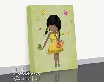 African American Girl Wall Art Decor Canvas Picture Print Ready to Hang Custom Hair Skin Color Green Bedroom Art Drawing Baby Nursery Gift