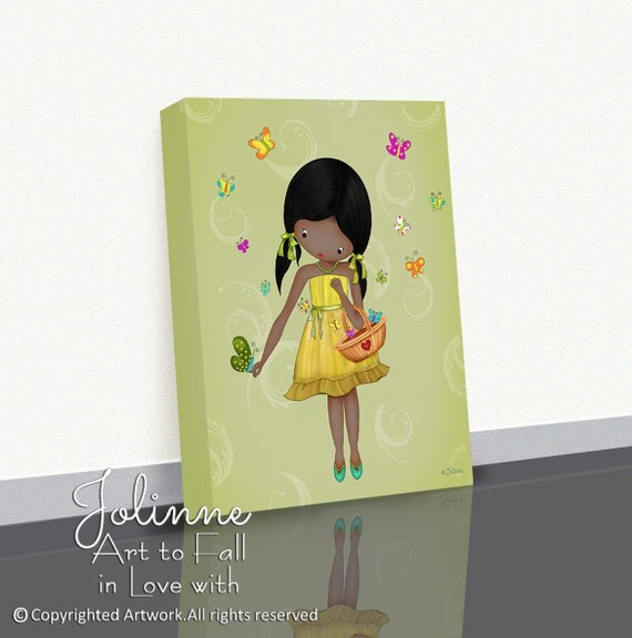 African American Girl Wall Art Decor Canvas Picture Print