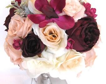 Wedding Bouquets Bridal Bouquet 17 Piece Package Silk Flower PEACH EGGPLANT SANGRIA Gray Plum