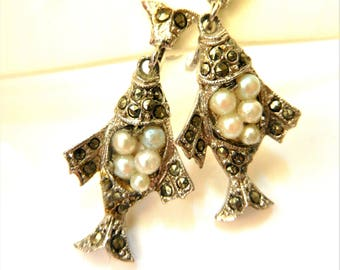 Adorable feminine antique marcasite and pearl dangle fishes shaped earrings - Authentic European art deco earrings -Art.747/4-