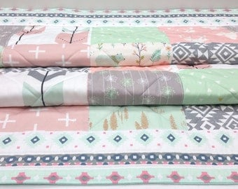 Baby Girl Quilt-Rustic Woodland Crib Bedding-Tribal-Aztec-Nursery-Mint-Pink-Gray-Buck-Antler-Bear-Arrows Baby Blanket