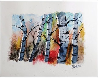 "SET OF 3 Postcards -4.5"" x 5.5""  Postcard Watercolor Landscape Print Original Birch Tree Prints"