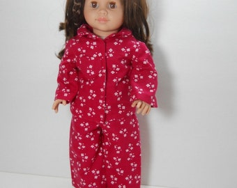 18 inch doll clothes made to fit dolls such as American Girl®, Red Flower Pajamas, 04-0182