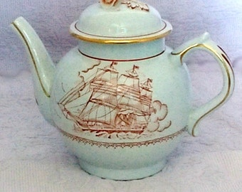 Crown Devon S Fielding and Co Teapot Sailing Ship