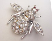 Rhinestone Bee Pin Silver Tone with Red Eyes Flying Insect Brooch