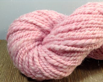 Pink Sparkle Handspun Merino Yarn, Aran weight pink Yarn, Merino and Nylon Yarn
