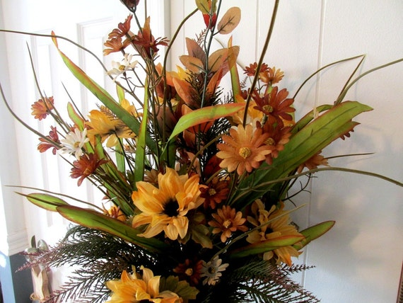 Tall Fall Floral Arrangement / Autumn Tall Floral Arrangement / Golden Browns Ferns Yellow Floral Arrangement / Tabletop Floral Arrangement