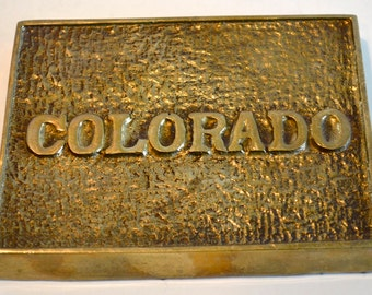 Vintage Fritz Brass COLORADO State Paperweight Office Decor Brass Paperweight