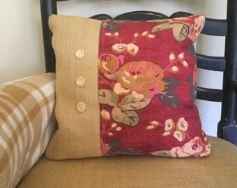 Burlap and Ticking Farmhouse Pillow
