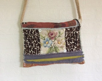 Handmade Artsy Crossbody Bag, Mixed Media, Fall Colors