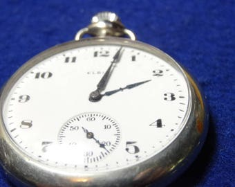 Sharp Looking Elgin 16 Size 7 Jewels Pocket Watch-Serviced