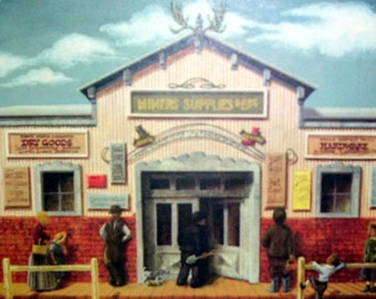 Artist Alice Smith Western Town RePrint 1983, Western Town, Dry Goods, Hardware, Miners Supplies, Poster Paper , Artist Drawn
