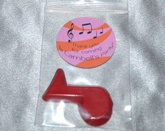 Music Note Shaped Crayons And 2 Inch Round Stickers, Total of 20 Crayons and 20 Stickers.  Boy or Girl Kids Unique Party Favors, Crayons.