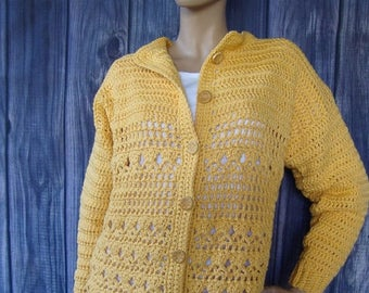 25% OFF Crochet Cardigan, Yellow Cardigan, Cotton Cardigan, Women's Cardigan Sweaters, Cardigan, Cardigans, Gift for her,  Available in L