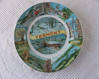 Vintage Plate Painted Vermont State Decorative Souvenir Collector Travel Vacation Retro Wall Decor Japan