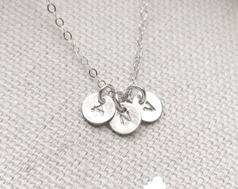 """SALE - Customized Sterling Silver Necklace - Hand Stamped 1/4"""" Initial - Personalized Charm - Sterling Silver Chain - The Lovely Raindrop"""