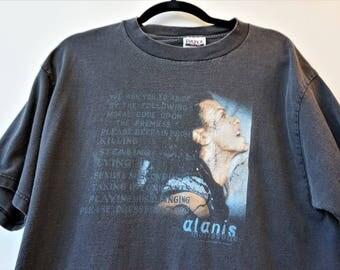 Vintage Alanis Morissette Tshirt 1990s Concert Tour Music Alt Rock Shirt Grunge Screen Printed Graphic Faded Black Cotton Tee (XL) E1029