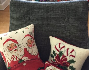 Christmas pillow Santa pillow vintage tablecloth pillow