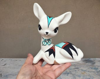 Vintage Acoma Pueblo pottery deer figurine, Native American Indian pottery, Acoma pottery fawn statue, Southwestern decor, deer lover gift