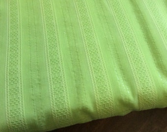 "End of Bolt 32"" FABRIC Cotton Fabric - Lime Green Metallic - Stripe Allison - Sewing Crafts Stash Builder - Fabric Destash LAST ONE"