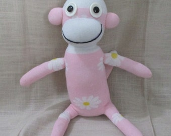 Clearance  Handmade Flower Print Pink Sock Monkey Stuffed Animal Doll Baby Toys