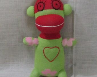 Clearance Handmade Green Sock Monkey Stuffed Animal Doll Baby Toys