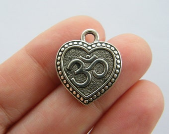 6 OM heart charms antique silver tone I86