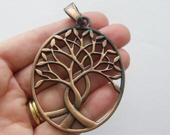 1 Tree pendant antique copper tone CC1