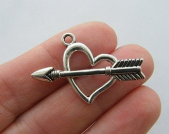 BULK 30 Heart and arrow toggle clasps antique silver C33