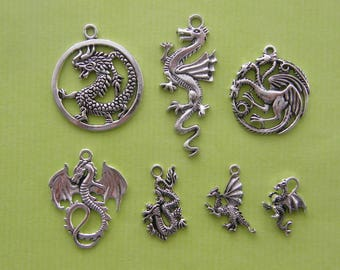 The Dragon Collection - 7 antique silver tone charms