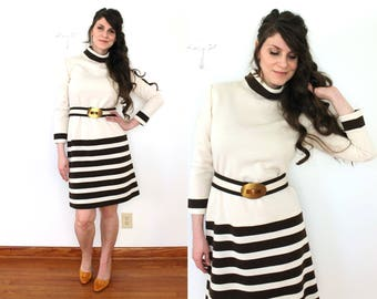 1970s Wool Dress / 70s Wool Knit Striped Cream and Brown Mod Sweater Dress