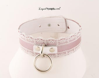 CHRISTINE BDSM Collar Bondage Pink Leather & White Lace Fetish Fet Kitty Choker Romantic Gift - Fetish Slave Submissive Choker Christmas