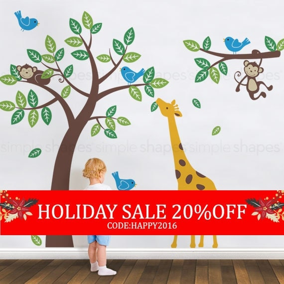 Holiday Sale - Tree with Monkeys Giraffe and Birds Wall Decals - Baby Nursery Wall Decals
