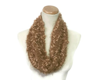 Brown Cowl, Hand Knit Cowl, Knit Cowl, Circle Scarf, Neck Warmer, Gift For Her, Fashion Accessory,