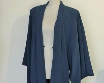 Men's KIMONO jacket HAORI blue gray SAMURAI style Large ready to ship